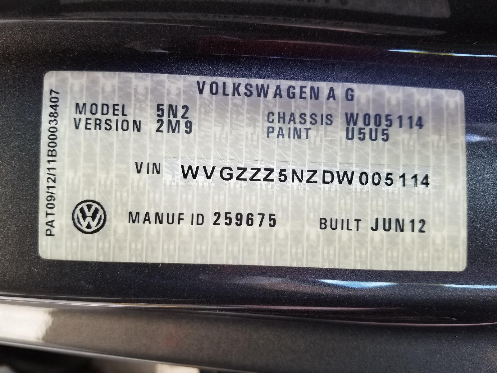 View Auto part [RIGHT_REAR_DOOR_SLIDING] Volkswagen Tiguan 2012